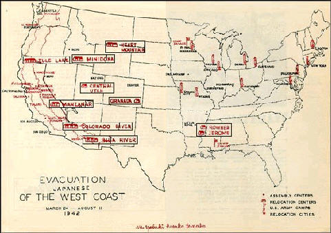 Maps Of Anese American Internment Camps